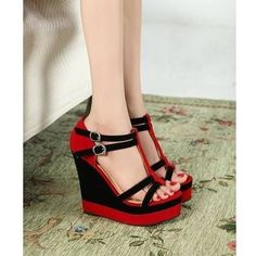 [Sold Out] Hot & Fashionable Clasp Wedge-heeled Sandals----Black_Sold Out_Wholesale shoes,kvoll shoes,china shoes wholesale,cheap shoes Dream Shoes, Crazy Shoes, Me Too Shoes, Hot Shoes, Wedge Shoes, Shoes Heels, Pretty Shoes, Beautiful Shoes, Frauen In High Heels