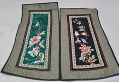 Pair of Vintage Decorative Chinese Silk Embroideries Birds and Flowers