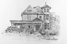House Portrait w/ Pen and Ink 5 x 7 custom drawing  by RobinIngles, $45.00