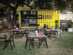 I love this pop up food shop. -Burro Cheese Kitchen a sharp looking container plus some tables and chairs =transportable warm weather cool pop up restaurant! PopUpRepublic.com