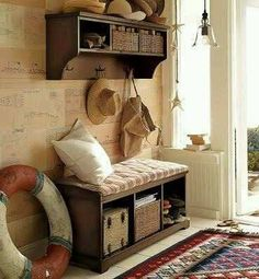 Cottage mud room with crosley brennan entryway bench shelf set for cool interior colors, entryway shelf and bench set Pottery Barn Entryway, Pottery Barn Furniture, Entryway Storage, Entryway Furniture, Furniture Upholstery, Home Furniture, Entryway Bench, Entry Organization, Nautical Entryway