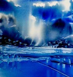 Aquarel Liliane Goossens Abstract Landscape Painting, Watercolor Landscape, Landscape Art, Landscape Paintings, Abstract Watercolor, Watercolor And Ink, Watercolor Paintings, Abstract Art, Watercolours