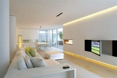 Modern Open White Living Room with Recessed Light Home Interior Design, 39 dining room & decoration designs in Charming White Interior Home Decoration gallery Home Interior Design, Interior Architecture, Home Design, Design Ideas, Living Room Designs, Living Spaces, Living Area, Plafond Design, Entertainment Room