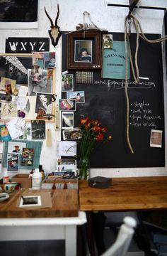 Chalkboard inspiration wall in kitchen