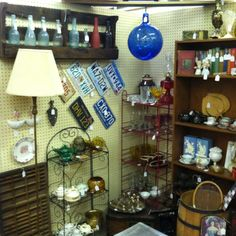 Our antique booth with lots of cool finds