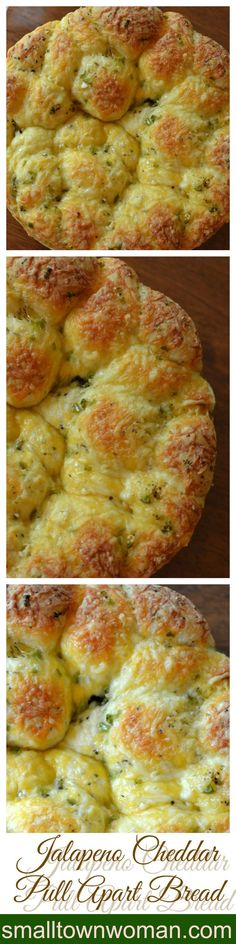 This delicious pull apart bread is so easy and delectable. The aromas from the oven will send you over the edge. Rhodes frozen dinner rolls, sharp cheddar, gouda and jalapeno. Make it in a bundt pan instead of springform, less mess! Sépareur Le Pain, Fingers Food, Bread Recipes, Cooking Recipes, Pan Relleno, Pull Apart Bread, Bread Rolls, Beignets, Dinner Rolls