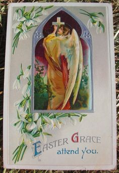 1910 Embossed Easter Postcard - Angel with Cross + Lily of the Valley #Easter