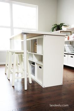 How to make a kitchen from the Ikea Kallax shelf . - So you can easily build a kitchen island from the Ikea Kallax shelf Diy Ikea Kallax, Etagere Kallax Ikea, Ikea Kallax Regal, Kallax Hacks, Kallax Ideas, Ikea Storage, Craft Room Storage, Storage Spaces, Room Organization