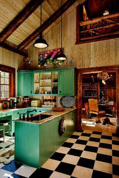 Log lodge - kitchenmadera en dos colorez. O pintar gamas de marrones las tablas