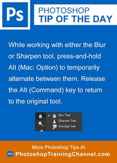 Switch Between The Blur And Sharpen Tools