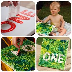 How to create a first birthday art canvas with finger paint... I would love to do this, but with the bubs name not age