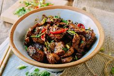 Cumin Lamb is a Xinjiang (新疆) dish, similar to Yang Rou Chuan (grilled lamb skewers), which has become a popular dish all over China Lamb Recipes, Meat Recipes, Asian Recipes, Cooking Recipes, Ethnic Recipes, Szechuan Recipes, Recipies, Lamb Stir Fry, Asia Food