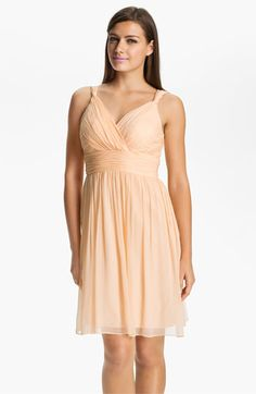 Donna Morgan Ruched Chiffon Dress available at #Nordstrom love this style bridesmaids dress.....but i still am stuck wanting a lace dress