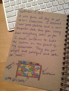 An Art Teachers Journal. Covering a bookshelf with curtains.