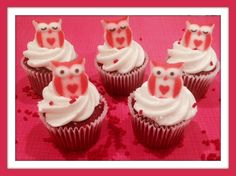 Use your Owl Sugars from January's box to decorate cupcakes!  Red Velvet Cupcake recipe is on our blog! https://mybakersbox.wordpress.com #cupcakes #redvelvet #ValentinesDay