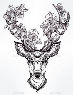 Deer Head With Flowers  In Line Art Style.  - Tattoos Vectors