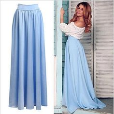 High Waist Pleated Light Blue Maxi Skirt