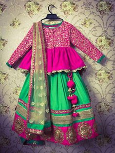 absolutely gorgeous Indian outfit: wish I knew correct names Kids Indian Wear, Kids Ethnic Wear, Wedding Dresses For Girls, Little Girl Dresses, Girls Dresses, Frocks For Girls, Kids Frocks, Indian Designer Outfits, Designer Dresses