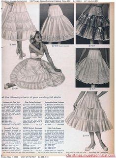 1957 Sears Spring Summer Catalog, Page 299 - Christmas Catalogs Holiday Wishbooks Big Skirts, 1950s Women, Christmas Catalogs, Vintage Style Dresses, Nightwear, Dress Skirt, Retro Vintage, Vintage Fashion, Ballet Skirt