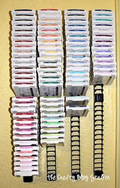 Scrapbook Storage, Scrapbook Organization, Craft Organization, Scrapbook Rooms, Organizing Life, Organising, Scrapbook Supplies, Ink Pad Storage, Stamp Storage