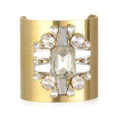 Wide Gold Crystal Cuff