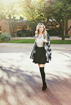 fall sweater and knee high boots