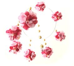 modern mobile sakura pink flowers with  beads by AnnushkaHomeDecor