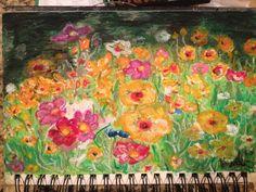 Wild flowers 6x10 oil pastel drawing HonorDogWorld.com