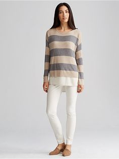 Merino Stripe Box Top-Available as shown in Maple Oat The box-top,