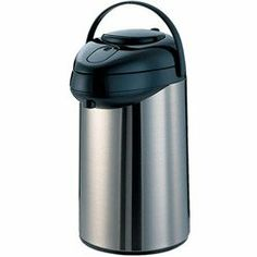 """Service Ideas 2 1/2 Liter Stainless Steel/Black Airpot Servers (15-0175) Category: Airpots by Service Ideas, Inc. $82.69. Sold Individually. Item #: 15-0175. Stainless steel exterior, glass interior, vacuum insulation. Innovative suction pipe prevents backflow into lid. Hand wash - do not submerge. 8 hour retention. 9 3/4"""" x 7"""" x 14"""" Customers also search for: Restaurant Supplies\Dining Room Supplies\Beverage Service\Airpots restaurant equipment, kitchen supplie..."""