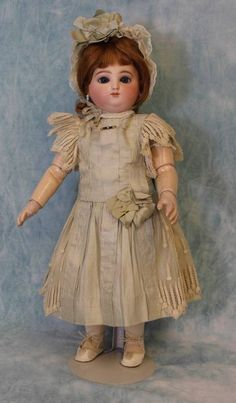 "17"" Antique Round face Jules Steiner Doll Marked mama/papa body Antique Clothes 