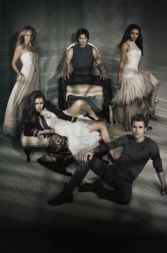 Damon, Stefan, Bonnie, Caroline and Elena