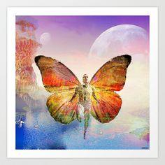 L'homme papillon Art Print by ganech - $16.64