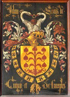 Golden Fleece Order stallplate of 24. Jehan, Seigneur de Créqui (1397-1473), O.L.Vrouw kerk Brugge, by Pierre Coustain 1468.