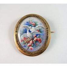 Nice estate brooch, Hand painted love birds Pin, 1870s Signed artwork $239.00