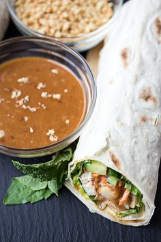 "Thai-Style Peanut Chicken ""Spring Roll"" Wrap -- could make this vegetarian by using tofu too!"