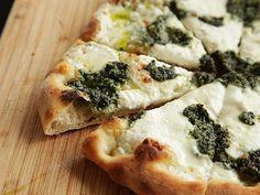 Pizza with Pesto, Ricotta, and Mozzarella