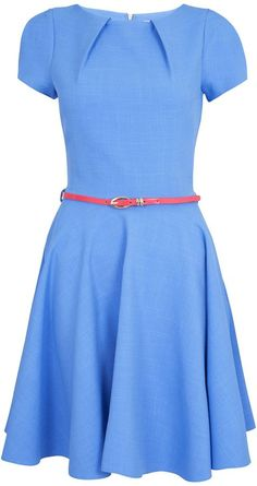 Closet Cap sleeve flared belted dress