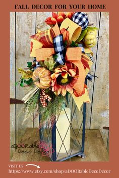 Ideas for instant fall decor this season includes swags with pumpkins and sunflowers.  I created this swag for a lantern or to place on a mantle for instant autumn color and decor.  Quick and easy way to decorate! Fall Lanterns, Fall Candles, Lanterns Decor, Fall Door Decorations, Easter Bunny Decorations, Easter Wreaths, Sunflower Centerpieces, Summer Centerpieces, Spring Front Door Wreaths