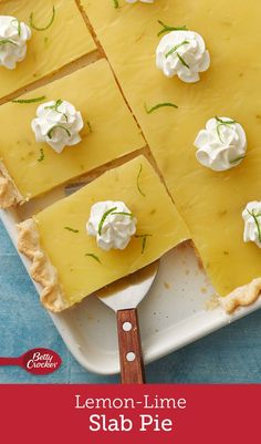 Zesty, tart and tangy, this slab pie is made easy with Pillsbury™ pie crusts and gets its fresh flavors from the grated zest and juice of lemons and limes. Each piece is topped with a dollop of sweetened whipped cream for a pretty presentation. Lemon Desserts, Lemon Recipes, Easy Desserts, Delicious Desserts, Yummy Food, Cookie Recipes, Dessert Recipes, Pie Recipes, Baking Recipes