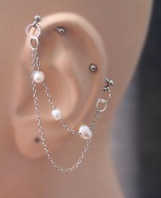 Industrial Barbell, Industrial piercing, Jewelry, Industrial bar earring, Industrial piercing chain, Freshwer pearl nuggets by triballook on Etsy https://www.etsy.com/listing/227228224/industrial-barbell-industrial-piercing