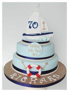 Do you like the hessian effect cake board? Bithday Cake, 70th Birthday Cake, Adult Birthday Cakes, 70th Birthday Parties, Nautical Birthday Cakes, Nautical Cake, Cupcakes, Cupcake Cakes, Sailboat Cake