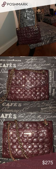 Authentic Rebecca Minkoff Beautiful burgundy wine leather and gold purse. Rebecca Minkoff Bags Shoulder Bags