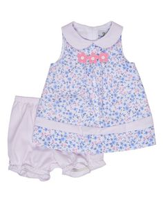 K0MW5 Florence Eiseman Sleeveless Floral Pique Dress w/ Bloomers, Blue, Size 3-24 Months