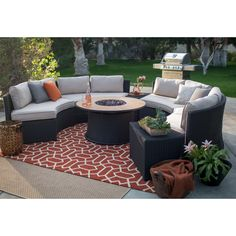 Belham Living Meridian All Weather Wicker 43 in. Fire Pit Conversation Set | from hayneedle.com