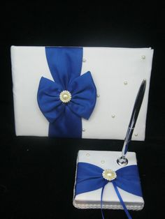 Two Tone:White and Royal Blue,Wedding Ceremony Guest Book & Pen Sets  Two Tone,White,Blue,Satin,