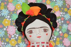 Frida Kahlo Handmade Cloth doll stuffed toy by MandarinasDeTela