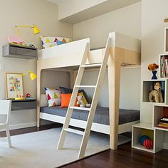 Corner Bunk Beds with Stairs and Modern Wall Lamps in Kids Bedroom Design Ideas