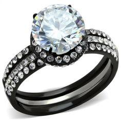Round Halo CZ Black Stainless Steel Wedding Engagement 2 PC Bold Ring Set 5-10