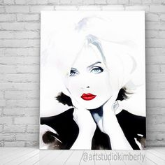 Atomic Fine Art Print of Original Watercolor Painting Portrait Punk Rock Blonde Hair Salon Decor BW Art, Hair Salon Art Salon Ideas Watercolor Portraits, Watercolor And Ink, Watercolor Paintings, Original Paintings, Salon Art, Pigment Ink, Ink Painting, Portrait Art, Somerset